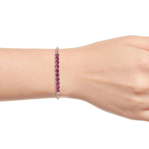 J Francis Crystal from Swarovski - Fuchsia Crystal (Rnd) Bangle (Size 7.5) in Rose Gold Plating