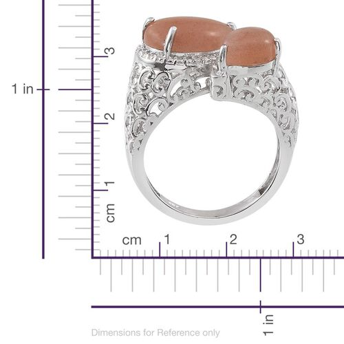 Morogoro Peach Sunstone (Pear 3.25 Ct) Crossover Ring in Platinum Overlay Sterling Silver 4.500 Ct.