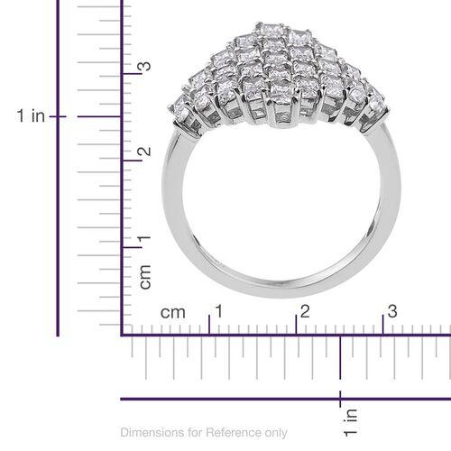 J Francis - Platinum Overlay Sterling Silver (Bgt) Cluster Ring Made with SWAROVSKI ZIRCONIA