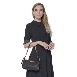 Designer Inspired - Black Bag with Leopard Pattern Shoulder Strap