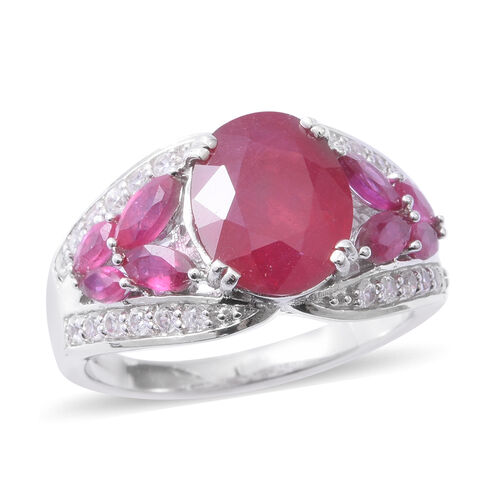 African Ruby (Ovl 5.20 Ct), Natural White Cambodian Zircon Ring in Rhodium Overlay Sterling Silver 7