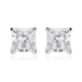 Super Auction - NY Close Out Deal- 14K White Gold Diamond (Princess Cut) (I2/G-H) Earrings (with Scr
