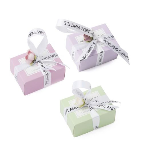 Heyland & Whittle: Mini Favours Rose Handmade Soaps (Natural Jasmine, Lilac & Herbal Mint) - 45g