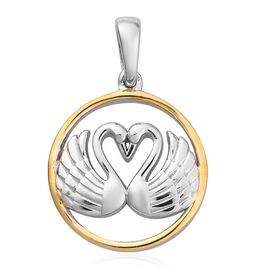 Platinum and Yellow Gold Overlay Sterling Silver Swan Couple Pendant