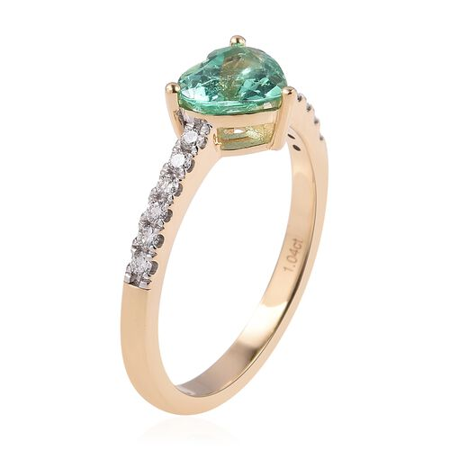 ILIANA 18K Yellow Gold AAA Boyaca Colombian Emerald (Hrt) Diamond (SI/G-H) Heart Ring 1.250 Ct.