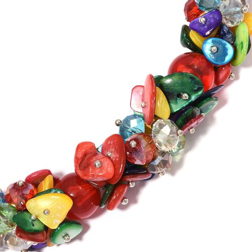 Multi Colour Shell and Simulated Multi Colour Gemstone Beads Cluster Necklace (Size 20 with 3 inch Extender) in Silver Tone