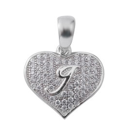 ELANZA Simulated Diamond (Rnd) Heart with Initial I Pendant in Rhodium Overlay Sterling Silver
