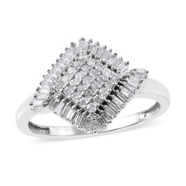9K White Gold SGL Certified Diamond (Bgt and Rnd) (I3/G-H) Ring 0.500 Ct.