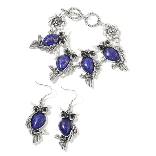 2 Piece Set 75 Carat Lapis Lazuli and Black Austrian Crystal Owl Bracelet and Hook Earrings 7.5 Inch