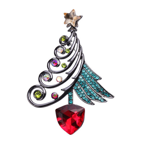 Set of 2 - Simulated Ruby, Black Austrian Crystal, Simulated Champagne Diamond and Multi Colour Austrian Crystal Christmas Tree and Snowman Enamelled Pendant with Brooch in Yellow Gold Tone