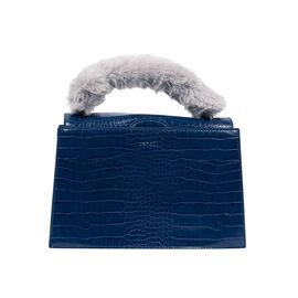 Inyati Olivia Handbag with Removable Faux Fur Handle (Size 20x24x11 Cm) - Navy