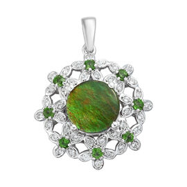 AA Canadian Ammolite (Rnd), Russian Diopside and Natural Cambodian Zircon Pendant in Platinum Overlay Sterling Silver 3.25 Ct.