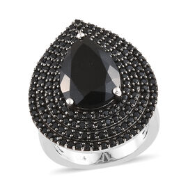 Black Tourmaline (Pear), Boi Ploi Black Spinel Ring (Size R) in Platinum and Black Overlay Sterling Silver 6.