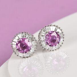 RHAPSODY 950 Platinum AAAA Madagascar Pink Sapphire and Diamond (VS/E-F) Stud Earrings (with Screw B