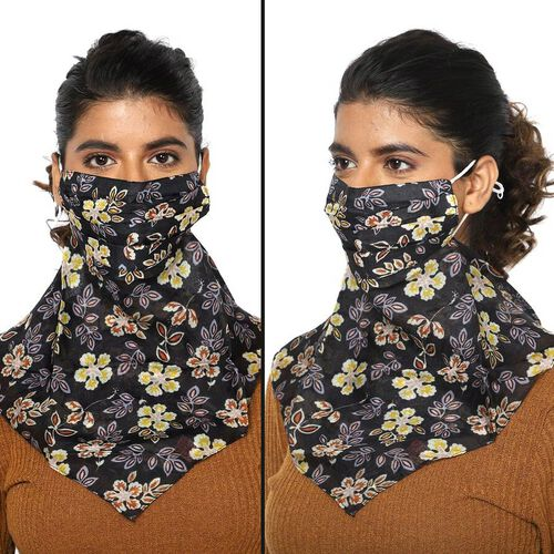 2-in-1 Flower Pattern 100% Mulberry Silk Scarf and Protective Face Covering (Size 43x43 cm) - Black
