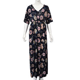 Floral Pattern V-neck Summer Dress (Size 60x125 Cm) - Navy and Multi