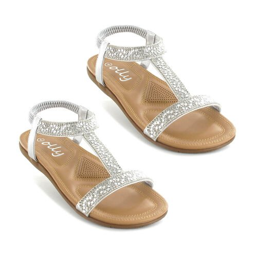 OLLY Mags Cushioned Toe Post Sandal (Size 3) - Silver