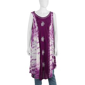 Sequin Embellished Tie-Dye Umbrella Dress with Two Side Pockets (One Size; L=100 Cm) - Purple