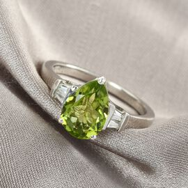 Peridot and Natural Cambodian Zircon Ring in Platinum Overlay Sterling Silver 2.00 Ct.