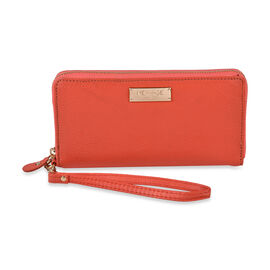 100% Genuine Leather  RFID Wallet (Size 20x11 Cm) - Coral