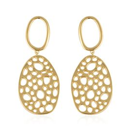 RACHEL GALLEY Yellow Gold Overlay Sterling Silver Lattice Earrings (with Push Back), Silver wt 16.30