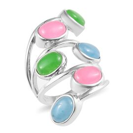 Blue, Pink and Green Jade (Ovl), Ring in Platinum Plated 10.000 Ct.