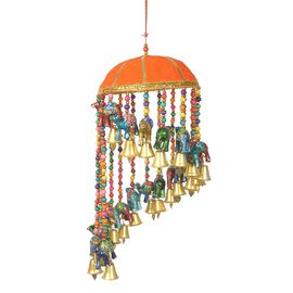 Home Decor - Beaded Strings with Bamboo Basket Camel and Bells Wind Chime