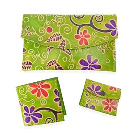 Set of 3 - 100% Genuine Leather Handmade and Painted Wallet - Big (18x12 Cm), Medium (8.2x9 Cm) and