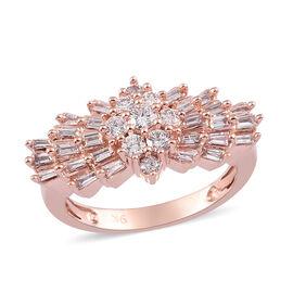 9K Rose Gold SGL Certified Pink Diamond (I2) Ballerina Ring 1.00 Ct, Gold wt. 4.20 Gms