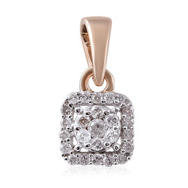 9K Yellow Gold SGL Certified Diamond (I3/G-H) Cluster Pendant 0.15 Ct.