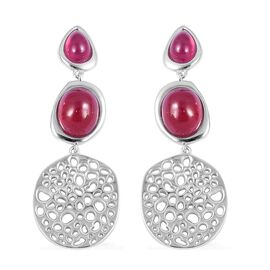 Auction Only Deal-RACHEL GALLEY African Ruby (Ovl) Lattice Earrings (with Push Back) in Rhodium Over