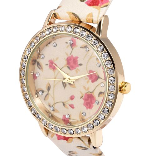 STRADA Japanese Movement Water Resistant White Austrian Crystal Studded Floral Pattern Watch with Beige Strap