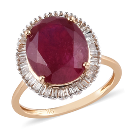 9K Yellow Gold African Ruby and Diamond Halo Ring 6.83 Ct.
