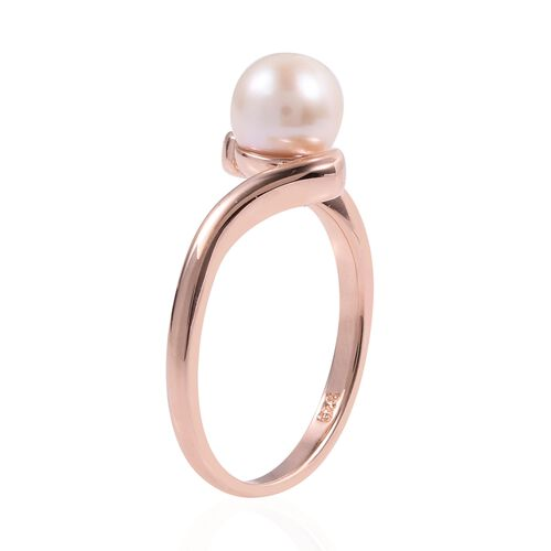 Japanese Akoya Pearl (Rnd 6.5-7 mm) Solitaire Ring in Rose Gold Overlay Sterling Silver