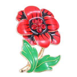 Red Austrian Crystal Flower Enamelled Brooch in Gold Tone