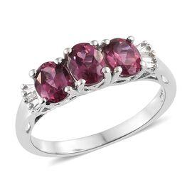 Tanzanian Pink Garnet (Ovl), Diamond Ring in Platinum Overlay Sterling Silver 1.500 Ct.