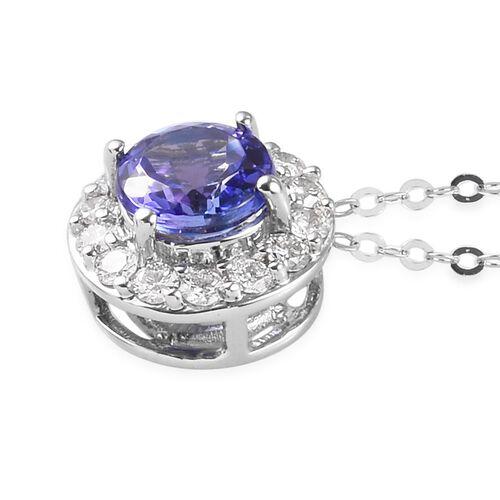 RHAPSODY 950 Platinum AAAA Tanzanite and Diamond (VS /E-F) Pendant with Chain (Size 18) 1.00 Ct.