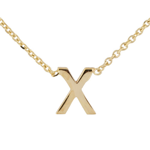 Hatton Garden Close Out - 9K Yellow Gold Initial X Necklace (Size 15 with 2 Inch Extender)
