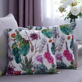 Set of 2 - Cactus & Flower Pattern Cushion Cover with Zipper Closure (Size 43x43cm) - Green, Purple