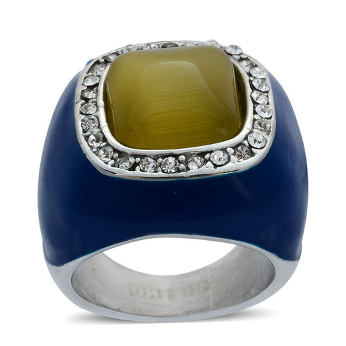 Simulated Yellow Cats Eye and White Austrian Crystal Enameled Ring in Stainless Steel