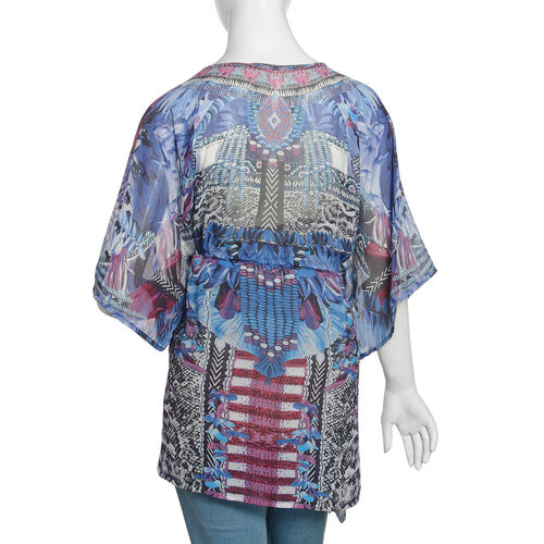 Blue, White, Purple and Multi Colour Crystal Embellished Digital Printed Top (Size 80x65 Cm)