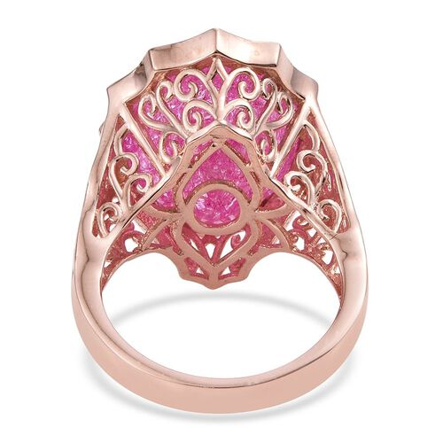 Hot Pink Crackled Quartz (Ovl) Ring in Rose Gold Overlay Sterling Silver 16.500 Ct. Silver wt 6.92 Gms.