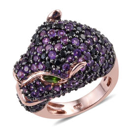 Amethyst (Rnd), Boi Ploi Black Spinel and Russian Diopside Panther Ring in Rose Gold Overlay Sterlin