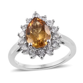 Xia Heliodor (Pear 1.50 Ct), Narural Cambodian Zircon Ring (Size S) in Platinum Overlay Sterling Silver 2.335