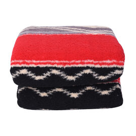 Tribal Pattern Sherpa Blanket (150x200cm)- Red Stripe