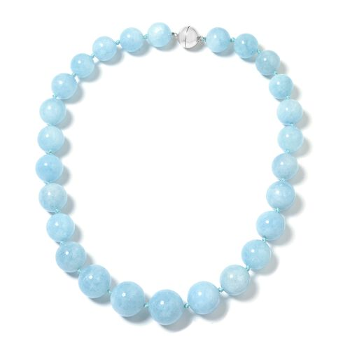Premium Size Espirito Santo Aquamarine (Rnd 14-21mm) Necklace (Size 20) with Magnetic Clasp in Rhodium Plated Sterling Silver 952.000 Ct, Silver wt 5.00 Gms.
