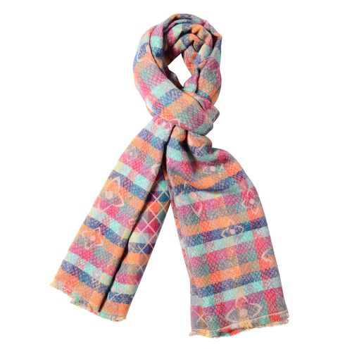 Pink and Multi Colour Flower Reversible and Chequer Pattern Scarf (Size 180x65 Cm)