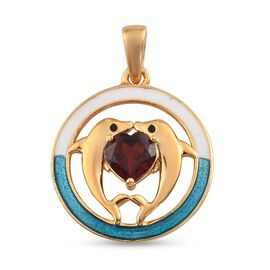 Mozambique Garnet Enamelled Dolphin Pendant in 14K Gold Overlay Sterling Silver