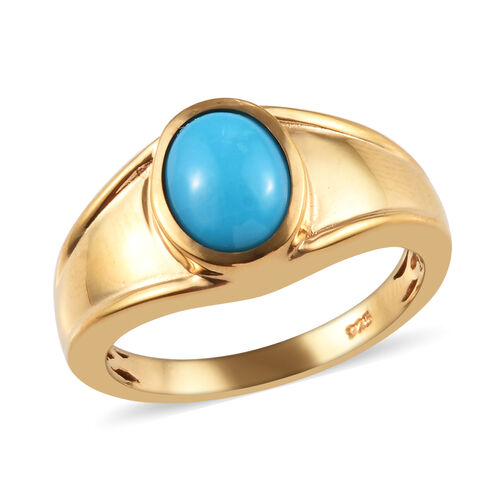 1.65 Ct Arizona Sleeping Beauty Turquoise Ring in 14K Gold Plated Sterling Silver 5.91 Grams