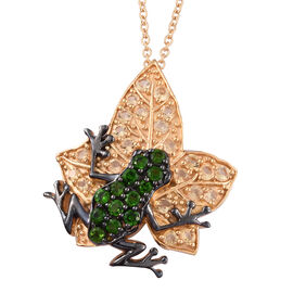 GP Russian Diopside (Rnd), Citrine and Blue Sapphire Frog on Maple Leaf Pendant with Chain (Size 20)